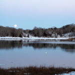 moon over pond
